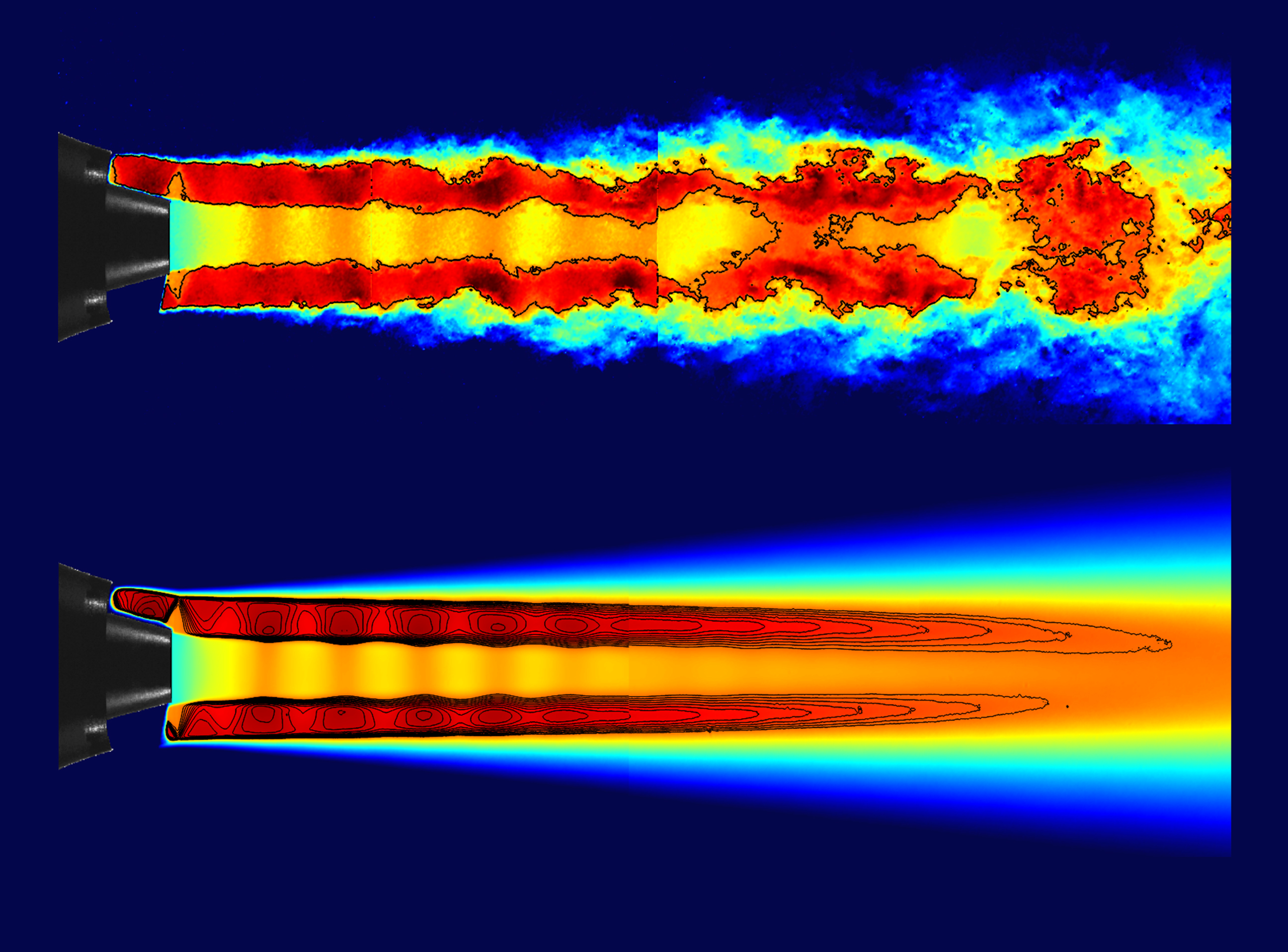 Instantaneous velocity flow field of a subsonic/supersonic coaxial jet obtained through PIV.